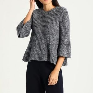 Gap Peplum Flare Charcoal Blue Heathered Sweater M